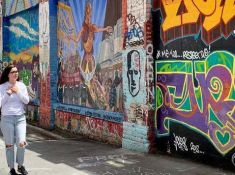 Walking down Clarion Alley