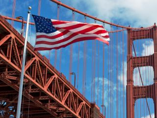 Golden Gate Bridge and the American Flag